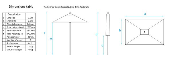 2.0 x 3.0m Rectangle Classic Dimensions Table