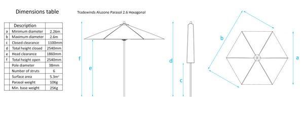 Tradeswind Aluzone 2.6m Hexagonal Parasol