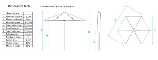 Tradewinds Classic 2.6m Hexagonal Parasol