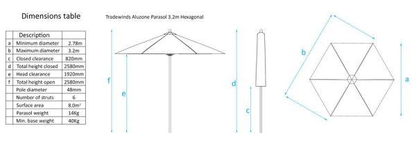 Tradewinds Aluzone 3.2m Hexagonal Parasol