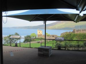 Vortex 4.2m square parasol at Urquhart Castle, Loch Ness, Scotland