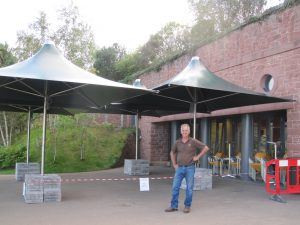 Vortex 4.2m square parasols, Spruce colour.