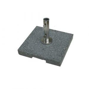 50kg Granite Parasol Base, Light Grey polished granite with stainless steel parasol connector