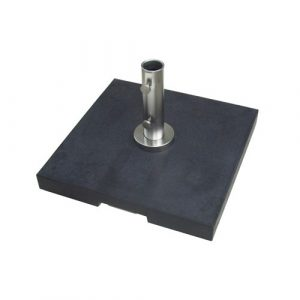 70kg Black Granite Parasol Base with polished stainless steel parasol connector tube